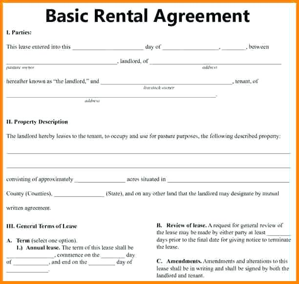 Download Free Basic Rental Agreement Template Every Last Template