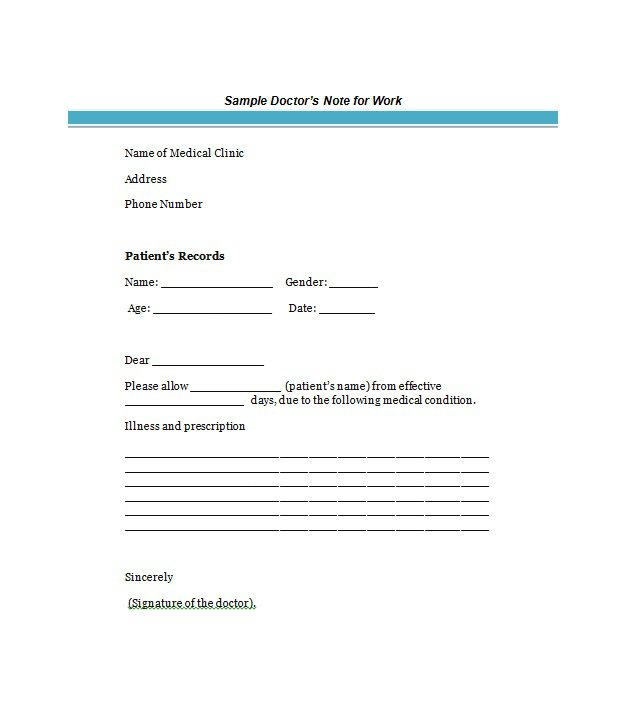 9 Best Free Doctors Note Templates for Work Every Last Template