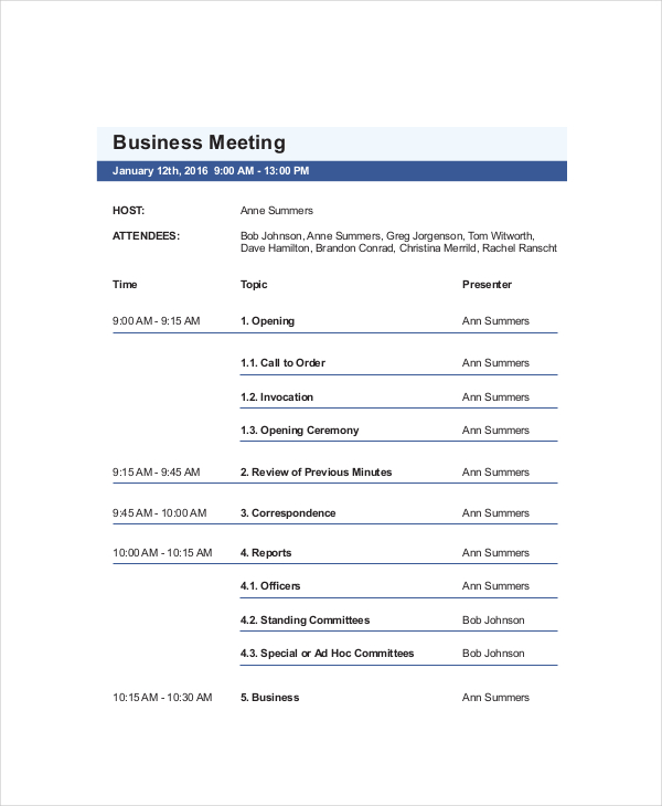 6 Best Meeting Agenda Templates for Free Every Last Template