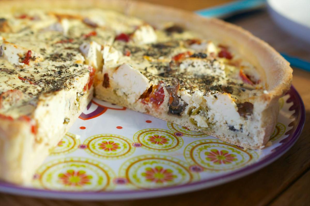 Garlic Mushroom, Feta & Cherry Tomato Quiche