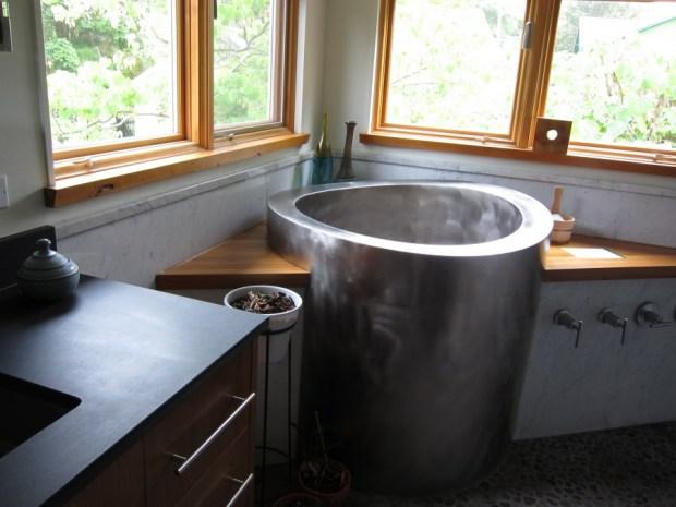 change in bathing ambiance japanese soaking tub