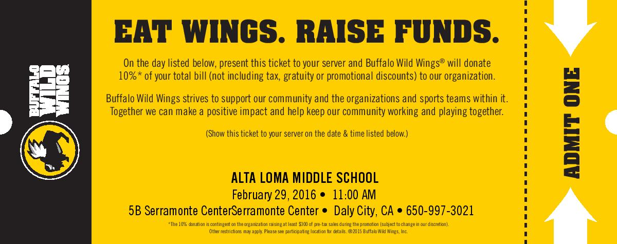 Alta Loma Middle School Fundraises at Buffalo Wild Wings in