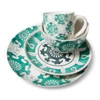 Aqua Medallion 16 Piece Dinnerware Set | Everything Turquoise