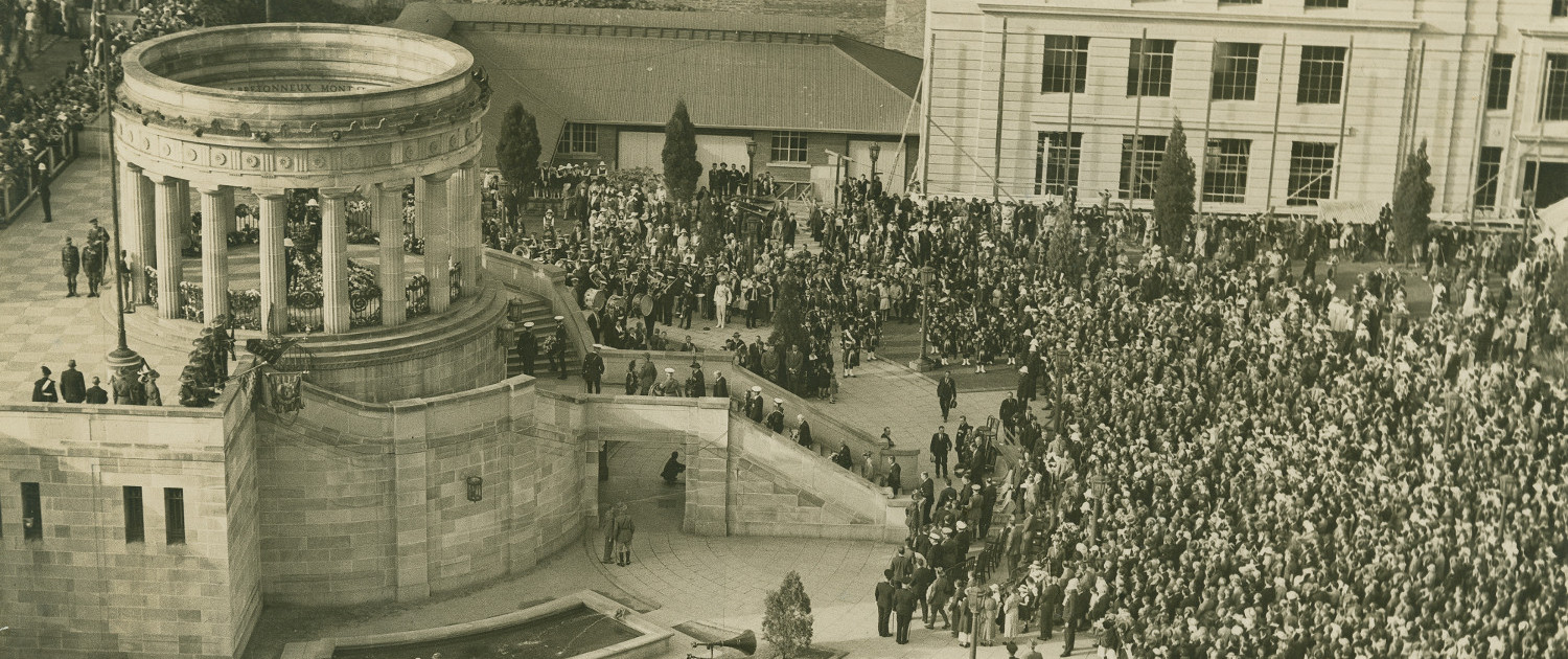 Large crowd in attendance for the Anzac Day service at Anzac Square, Brisbane, ca. 1940 [John Oxley Library, State Library of Queensland Image number: 7708-0001-0106]