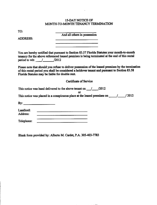 30 day notice letter – Tenant Eviction Letter Template