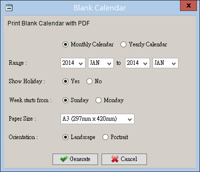 Generate blank PDF monthly or yearly calendar Smart Calendar Software