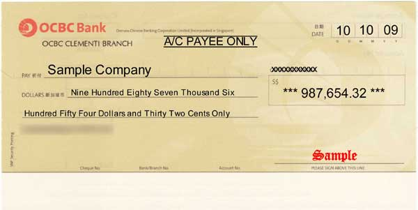 cheque samples