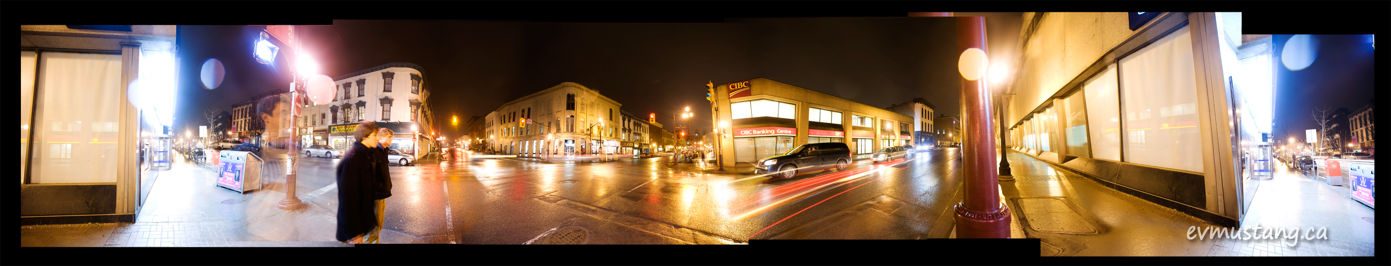 image of Hunter and George Streets, Peterborough, at night