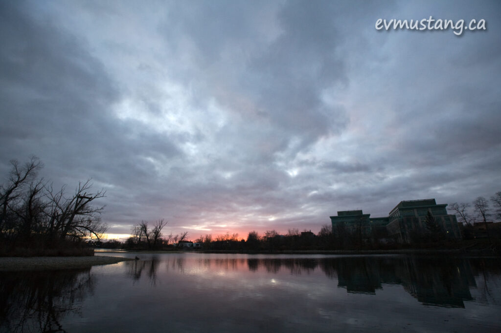 image of a sunset behind the mnr building, peterborough