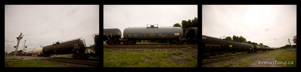 triptych image of tanker cars on a train moving through woodstock, ontario