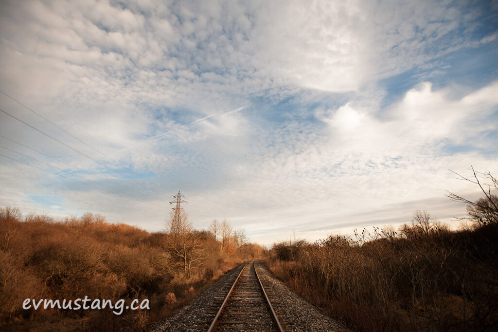 image of the train tracks through pond mills, london, ontario, december 2015