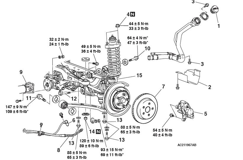 diagram of rear suspension diagram including the torque specs