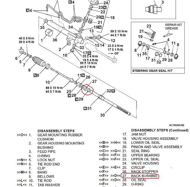 mitsubishi rack and pinion diagram