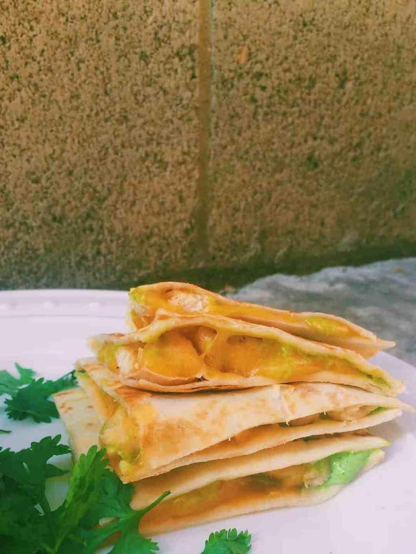 Cilantro Cream Cheese Chicken Quesadillas -
