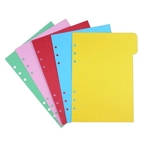 EvZ 5 Color Index Per Tab for 7 Inches Journal Organizer Diary A6