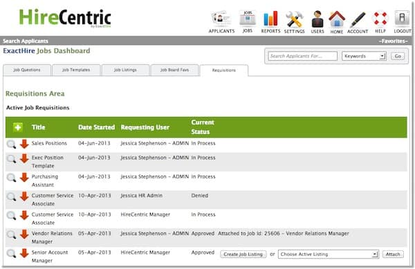 Job Requisition Management Software HireCentric by ExactHire - employee requisition form