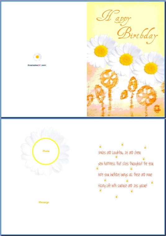 Birthday Card Word Template formatscsatco – Example of a Birthday Card