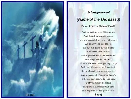 Free Printable Funeral Prayer Card Template - FREE DOWNLOAD - free funeral card templates