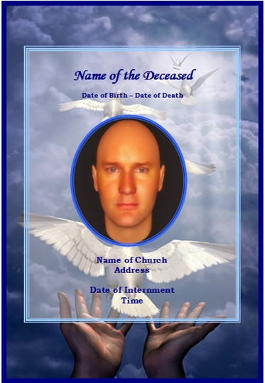 Example of Funeral Christian Memorial CardDove - free funeral card templates