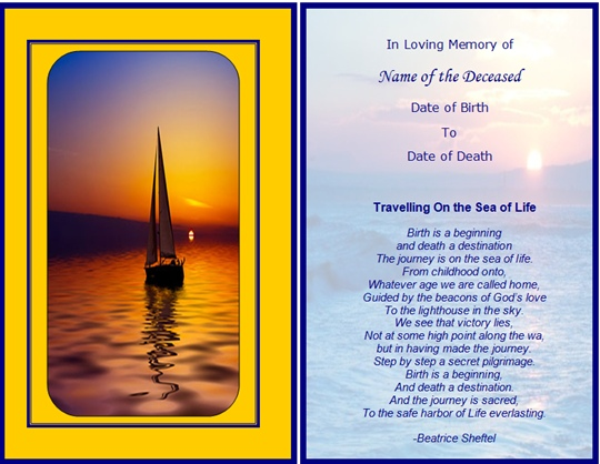 Memorial Cards Samples - funeral card templates free