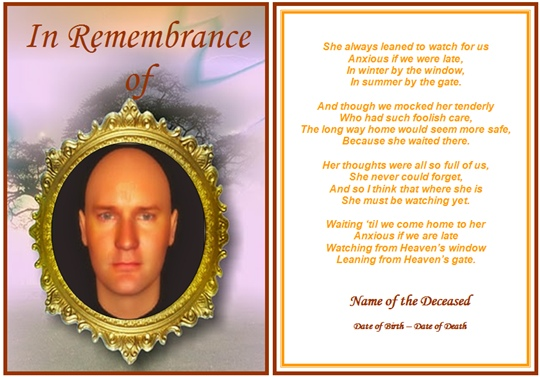 funeral memorial cards template - prayer card template free