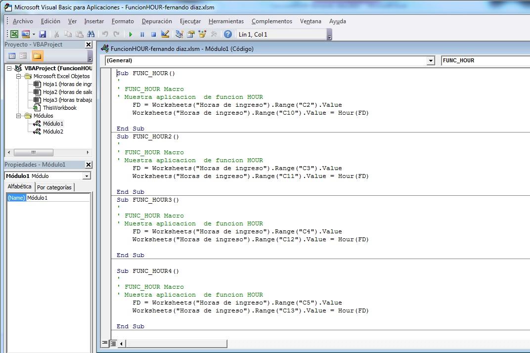 Función HOUR « Excel Avanzado