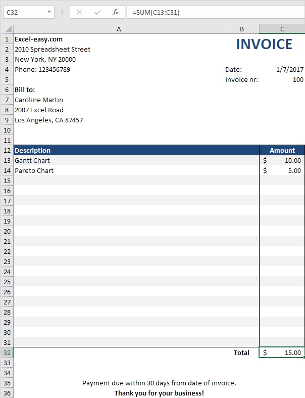 excel invoice template - acworldcup.tk, Invoice examples