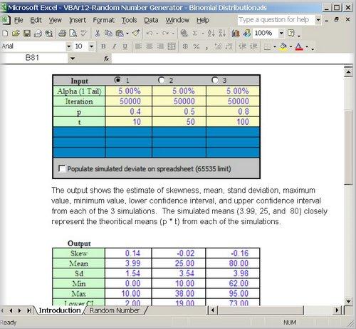 Binomial Distribution Random Numbers Generator and Statistics Set