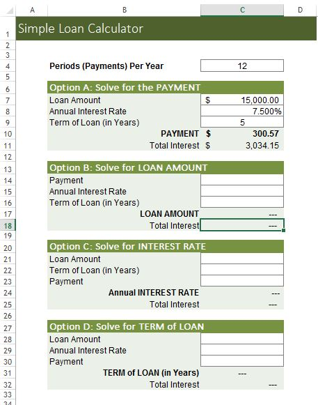 Simple Loan Calculator Excel Templates for every purpose