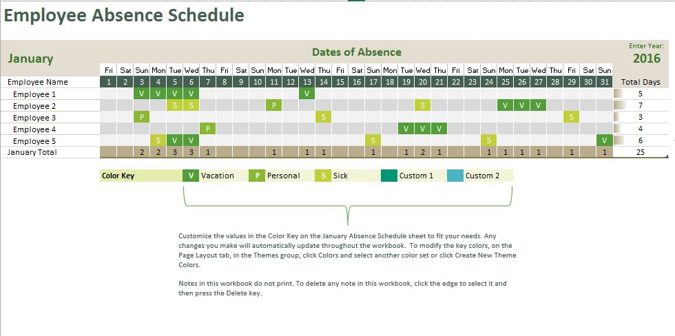 Absence Tracking Calendar Excel Templates for every purpose