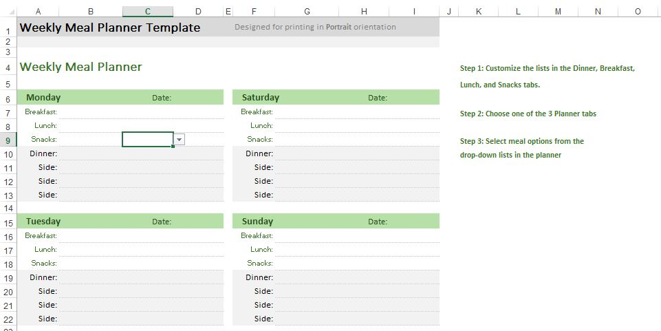 Weekly Meal Planner Excel Templates for every purpose