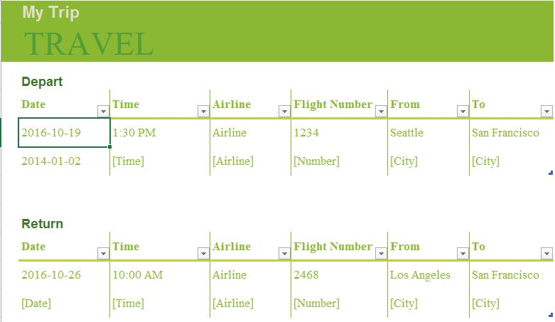 Trip Planner Excel Templates for every purpose