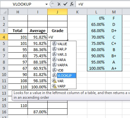 Excel Formula Help \u2013 VLOOKUP for Changing Percentages to Letter Grades - creating formulas in excel