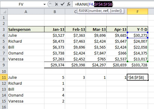 Excel Formula Help - using RANK to sort entries within a range