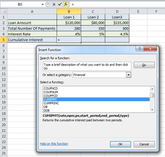 Excel Formula Help - CUMIPMT for total interest paid on a loan - loan interest calculator
