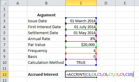Excel Formula Help - ACCRINT for periodic interest payments from a - annual interest rate formula