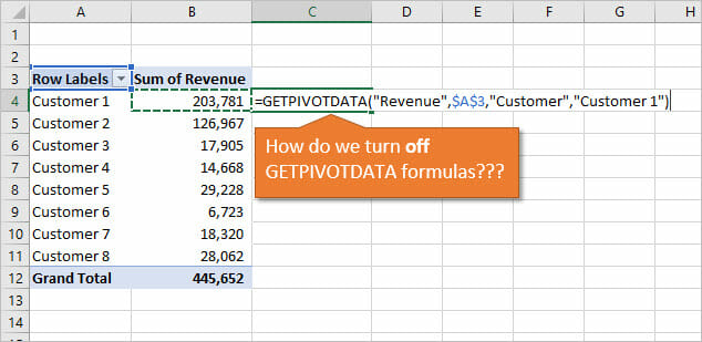 How to Turn Off GETPIVOTDATA Formulas for Pivot Tables - Excel Campus