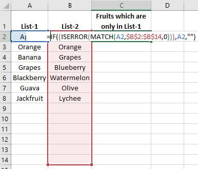 How to Compare Two Columns in Excel For Finding Differences