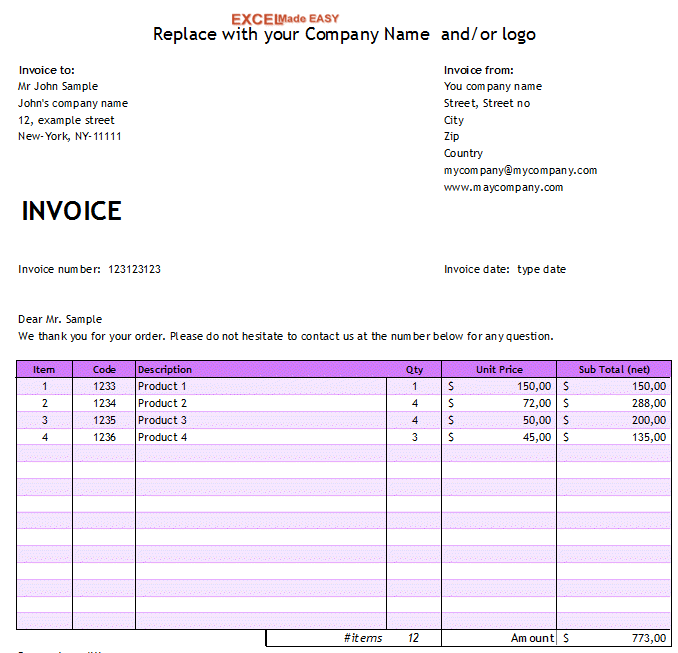 sample yoga invoice | customer service resume example, Invoice examples
