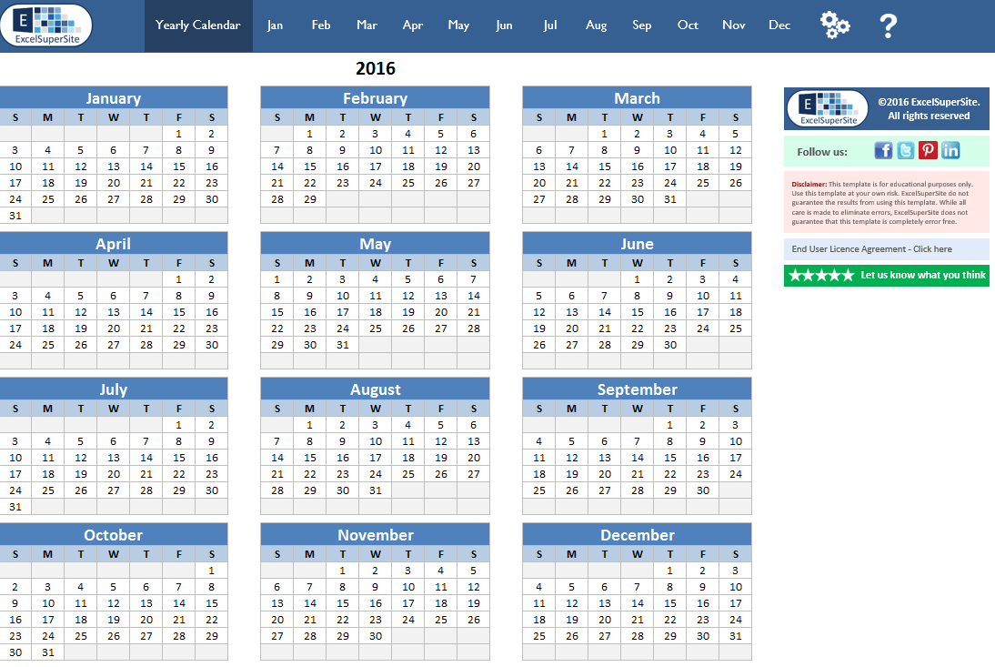 12 month calendar template