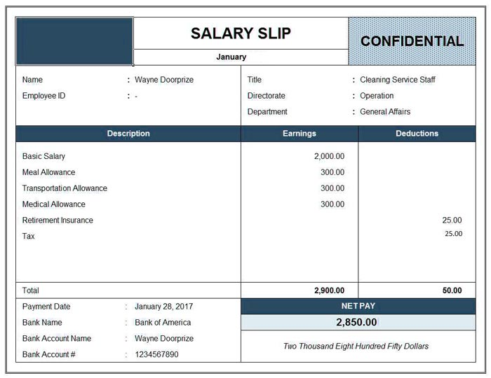 Sample Salary Slip Format in Excel Word Template - Excel Templates