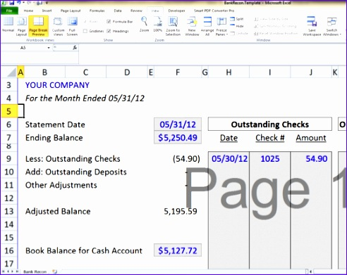 Account Reconciliation Template Excel Utwyt Unique Bank - bank account reconciliation template