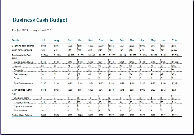 8 Business Cash Budget Template - ExcelTemplates - ExcelTemplates