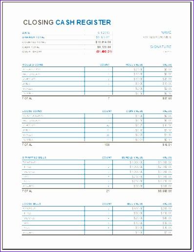 Cashier Balance Sheet Wvdnr Fresh Closing Cash Register Template for