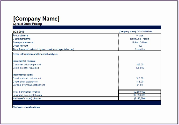 Decision Log Template Jgnsj New Ms Excel Special order Pricing