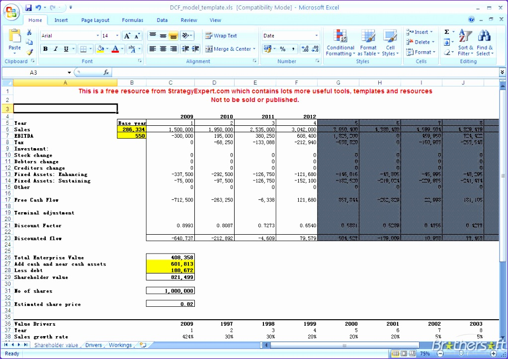 12 Discounted Cash Flow Template Excel - ExcelTemplates - ExcelTemplates - discounting cash flow