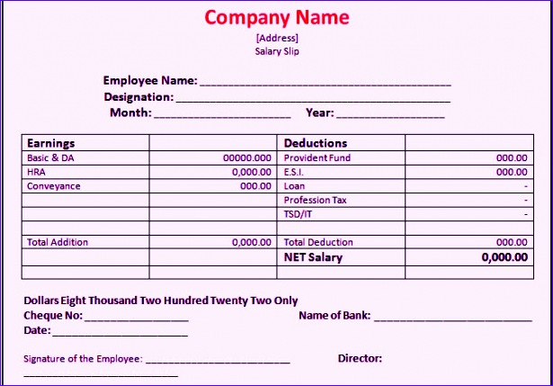 Employee Payslip Template Excel Ghrbb New Bank Salary Slip format