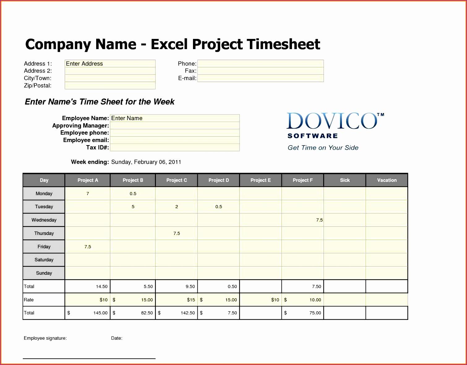 12 Employee Timesheet Template Excel Spreadsheet