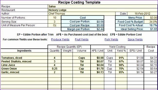 food cost calculator excel inspirational excel food cost template