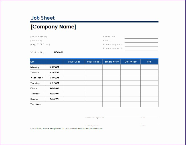Job Sheet Example Magnificent Job Sheet Template Free Contemporary - sample job sheet template